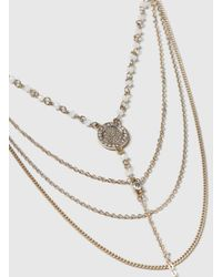 Dorothy Perkins - Metallic Beaded Multi Row Necklace - Lyst