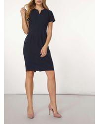 Dorothy Perkins   Blue Navy Crepe Notch Neck Dress   Lyst