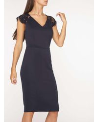 Dorothy Perkins - Blue Tall Navy Lace Shoulder Pencil Dress - Lyst