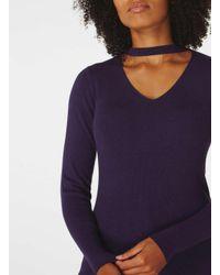 Dorothy Perkins - Purple Knitted Choker Neck Jumper - Lyst