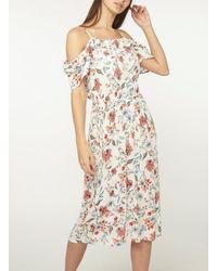 Dorothy Perkins - White Tall Ivory Floral Cold Shoulder Skater Dress - Lyst