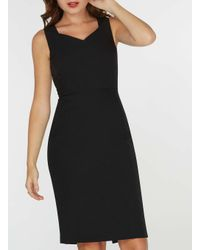 Dorothy Perkins - Black Fold Neck Pencil Dress - Lyst