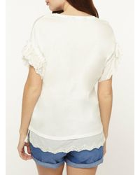 Dorothy Perkins - White Ivory Broiderie Sleeve T-shirt - Lyst