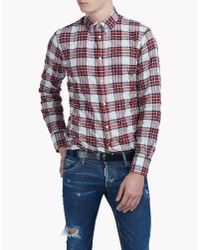 DSquared² | White Cotton Check Shirt for Men | Lyst