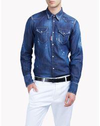 DSquared² | Blue Western Denim Shirt for Men | Lyst