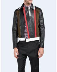 DSquared² | Black Military Biker Leather Bomber for Men | Lyst
