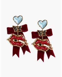 DSquared² - Red Velvet Embellished Earrings - Lyst