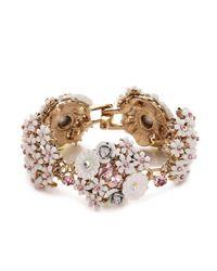Betsey Johnson - Metallic Floral Duster Bracelet - Lyst