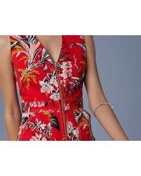 Diane von Furstenberg - Red Zip Front Sheath Dress - Lyst
