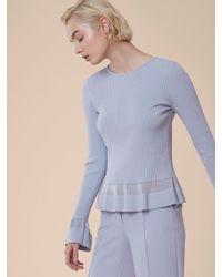 Diane von Furstenberg - Blue Long-sleeve Peplum Top - Lyst