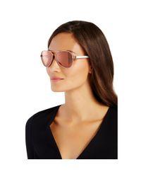 Diane von Furstenberg - Metallic Brandy Mirrored Aviator Sunglasses - Lyst