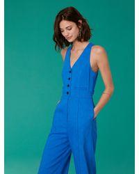 Diane von Furstenberg - Blue Fitted Button-front Linen-stretch Jumpsuit - Lyst