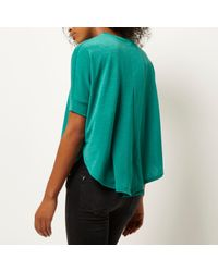River Island - Blue Bright Green Knitted Circle T-shirt - Lyst