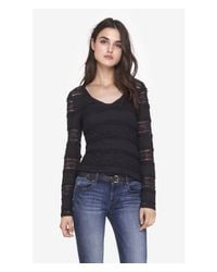 Express | Black Tiered Lace V-neck Long Sleeve Layering Tee | Lyst