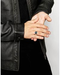 ASOS | Metallic Signet Ring With Grey Stone for Men | Lyst