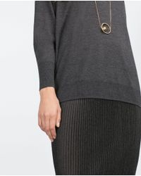Zara | Gray Oversize Sweater | Lyst
