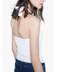 Mango - White Ribbed Top - Lyst