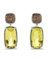 David Yurman - Yellow Chatelaine Drop Earrings with Lemon Citrine Cognac Diamonds - Lyst
