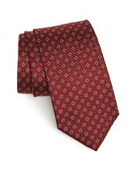 Ferragamo - Red Gancini Grid Silk Tie for Men - Lyst