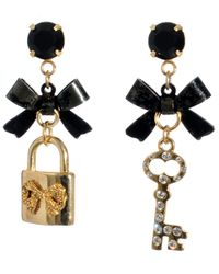Betsey Johnson | Black Bow And Charm Drop Earrings | Lyst