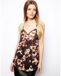 ASOS - Multicolor Longline Cami Top in Dark Flower Print - Lyst
