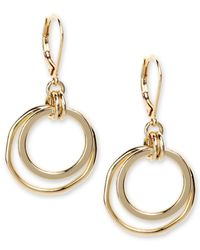 Anne Klein | Metallic Gold-tone Orbital Fish Hook Earrings | Lyst