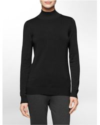 Calvin Klein | Black White Label Mock Neck Sweater | Lyst