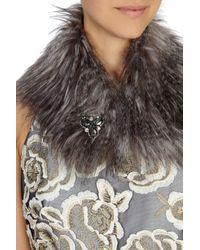 Coast - Gray Bonnie Brooch Faux Fur Collar - Lyst