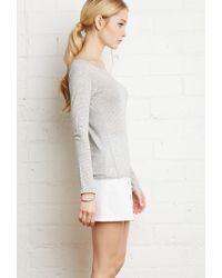 Forever 21 - Gray Striped Stretch-knit Tee - Lyst