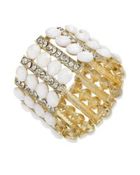 INC International Concepts - Metallic Goldtone White Stone and Crystal Stretch Bracelet - Lyst