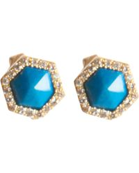 Monique Péan | Blue Women's Hexagonal Opalina Stud Earrings | Lyst