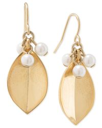 Carolee | Metallic Gold-tone Faux Pearl Cluster Leaf Earrings | Lyst
