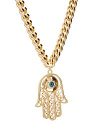 ASOS - Metallic Limited Edition Hamsa Pendant Necklace - Lyst
