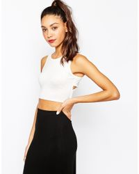 Daisy Street - Multicolor Cross Back Crop Top - Cream - Lyst
