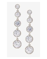 Express | Metallic Graduated Cubic Zirconia Dangle Earrings | Lyst