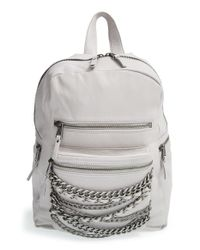 Ash - Gray 'small Domino' Chain Leather Backpack - Lyst