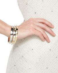 St. John - Metallic Two-tone Pearly Stud Bangle - Lyst