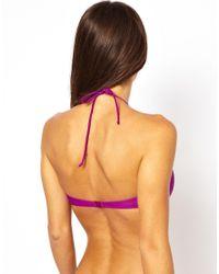 ASOS - Purple Cut Out Halter Bikini Crop Top - Lyst