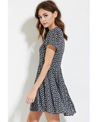 Forever 21 - Blue Floral Print Skater Dress - Lyst