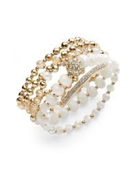 INC International Concepts - Metallic Gold-tone Bead And Crystal Five-row Stretch Bracelet - Lyst