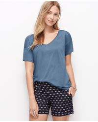 Ann Taylor | Blue Jersey V-neck Tee | Lyst