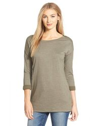 Caslon | Green Zip Detail Three-quarter Sleeve Tunic | Lyst