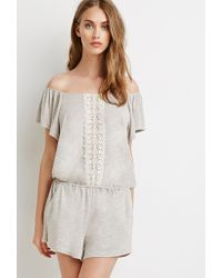 Forever 21 | Brown Crocheted Slub Knit Romper | Lyst