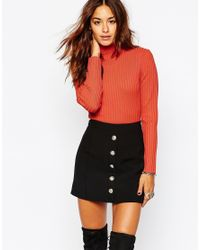 Missguided - Red Roll Neck Ribbed Body - Lyst