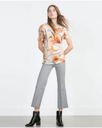 Zara | White Flower Print T-shirt | Lyst