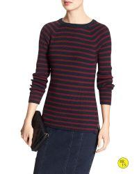 Banana Republic | Blue Factory Stripe Crew-neck Sweater | Lyst