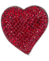 Carolee | Silver-tone Red Crystal Heart Pin | Lyst