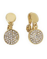 Ak Anne Klein | Metallic Gold-Tone Pavã© Disc Clip-On Earrings | Lyst