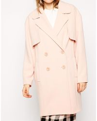 ASOS - Black Coat In Cocoon Fit With Stormflaps - Lyst