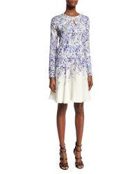Giambattista Valli - Blue Floral-print Silk Skirt - Lyst